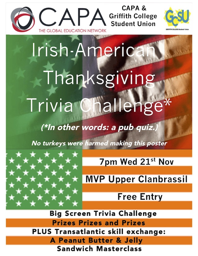 Poster for CAPA & GSU Pub Quiz