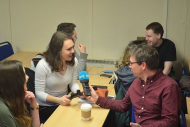 Cian McCormack of RTE with Griffith College journalism students