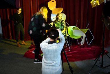 Patricia Amsjah, centre, photographing the Made in Griffith shoot