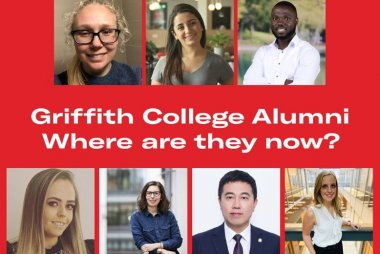 "Photo collage of Griffith alumni on a red background with the text ""Griffith College Alumni: Where are they now?"""