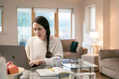 Blended learning student working from home