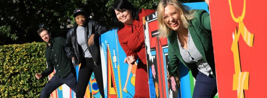 Gareth, Bonitta, Martina and Deirdre standing by the Design a Cube creations