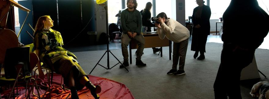 Students collaborating on the photoshoot for the Made in Griffith campaign
