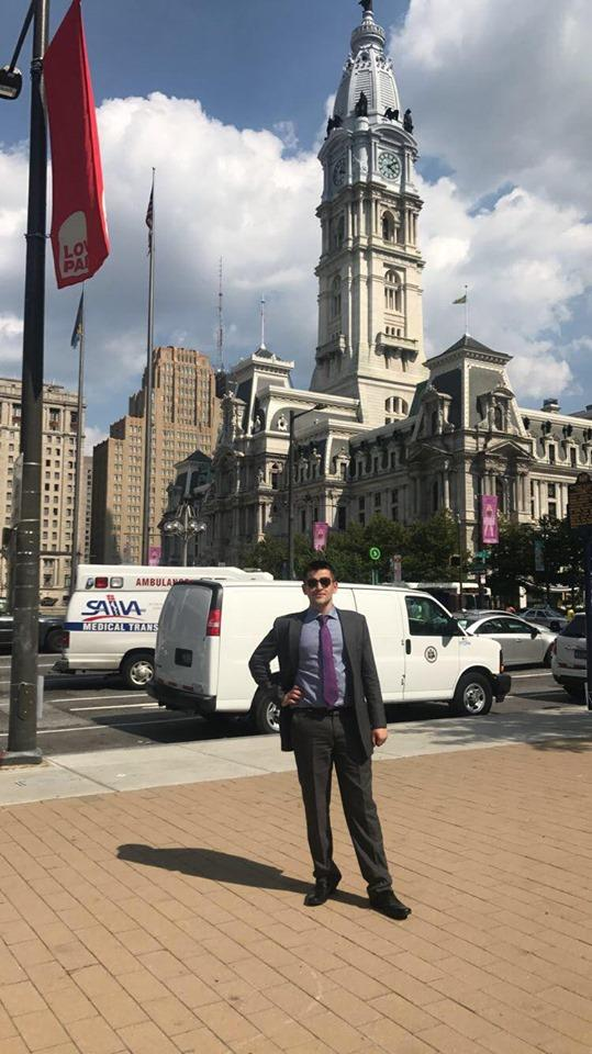 Tom in front of City Hall