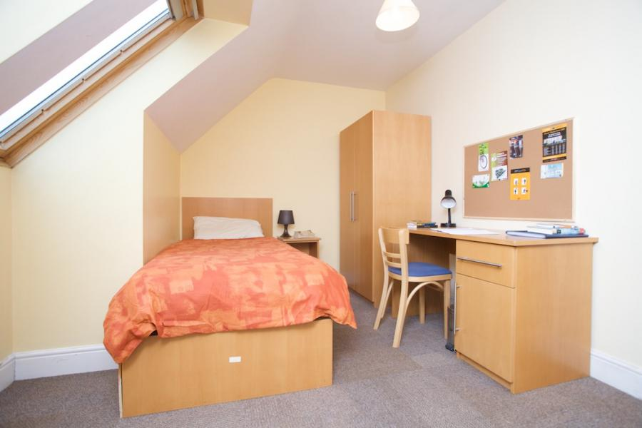 A single ensuite bedroom at Griffith Halls of Residence