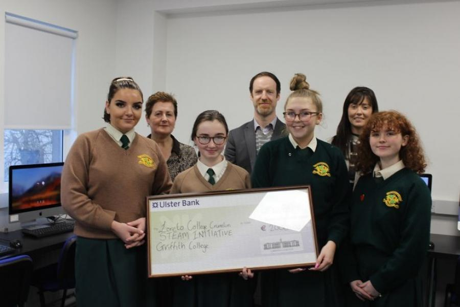Loreto College Crumlin students and Griffith College staff in the new computer lab