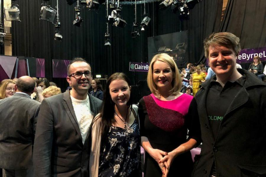 Griffith College students with Claire Byrne