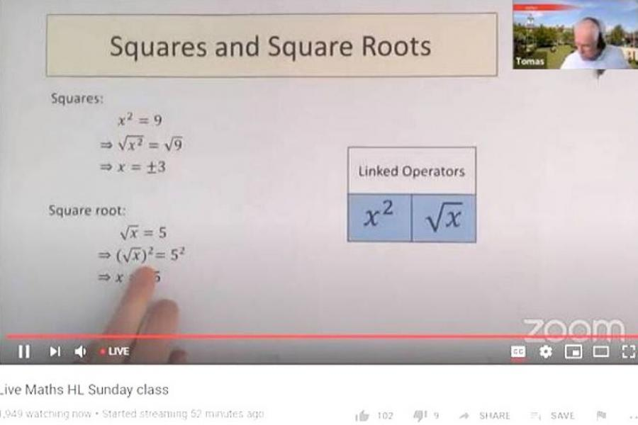 Screenshot of a Zoom video, showing instruction on squares and square roots