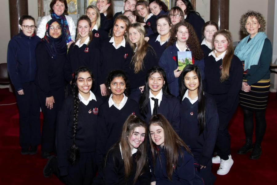 Students from St. Vincent's at the presentation of their award