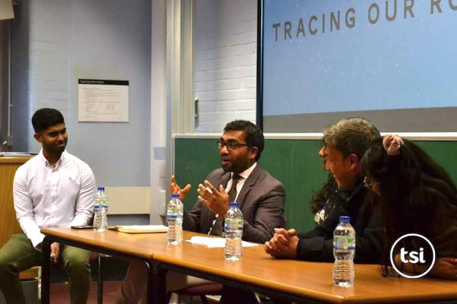Dr. Thamil Venthan Ananthavinayagan presents at a talk at King's College London