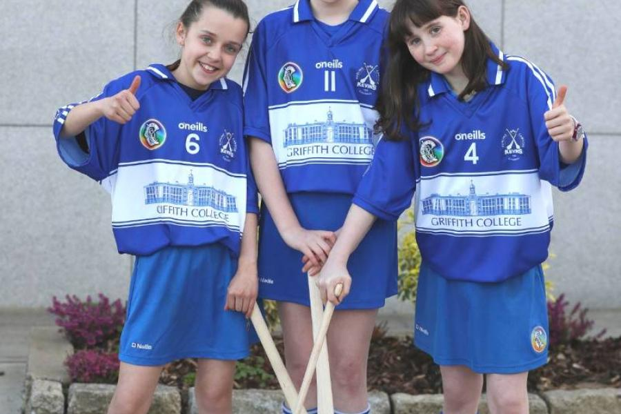 Players from Kevin's Camogie pose on the Griffith College Dublin campus