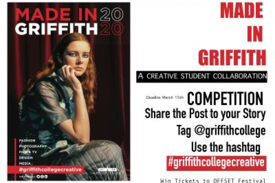 Poster created by Griffith students with instructions on how to win tickets to OFFSET