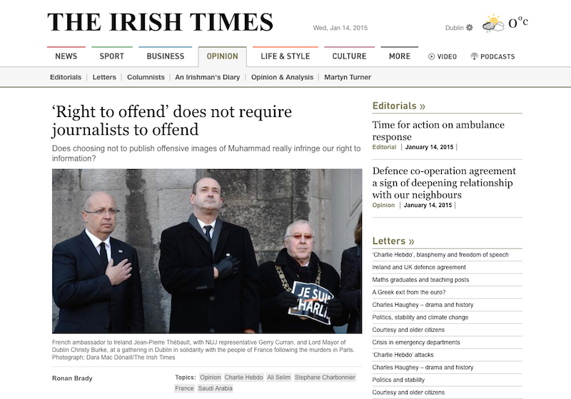 Griffith College journalism lecturer Ronan Brady has written a piece for the Irish Times in light of the Charlie Hebdo massacre