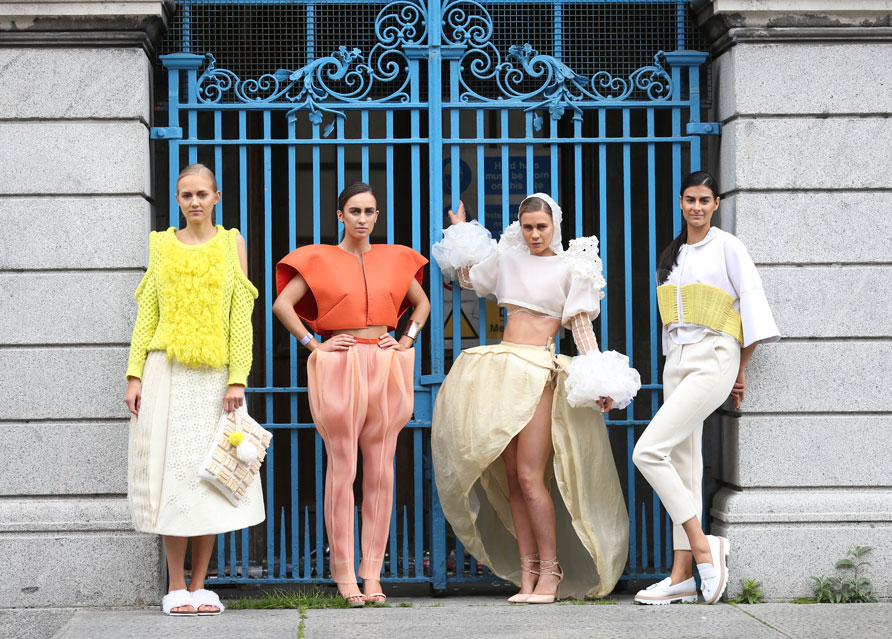 (l-r) Winning design entitled Jerusalem The Promised Land designed by Sarah Murphy. In second place was 'Modern Matador' designed by Clodagh Knight. Joint third place were-'Artificial Intelligence' designed by Cija Lamb and 'Connections' designed by Aurelie Yolande. The DIT Fashion show was organised by DIT students, with net proceeds going to the Jack & Jill Children's Foundation. Photography: Sasko Lazarov/Photocall Ireland