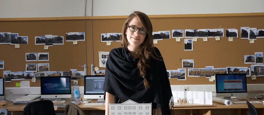 Architectural Student Exhibiting Her Work