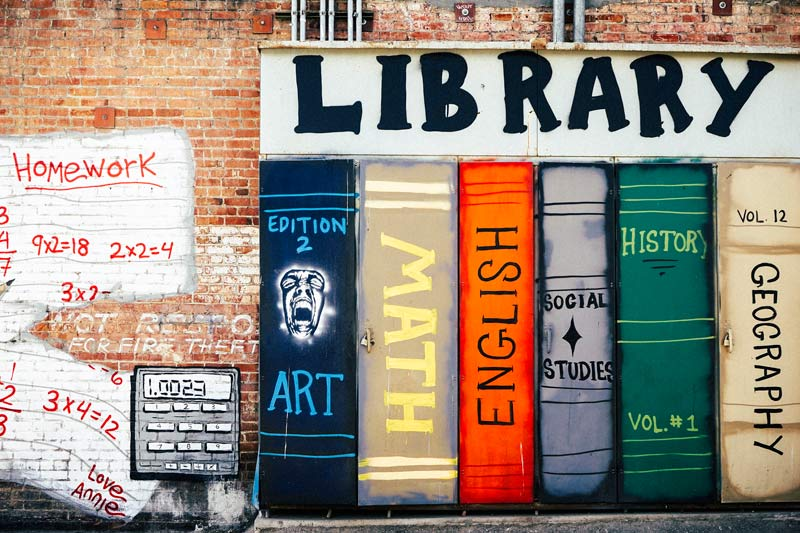 Funky Library wall graffiti