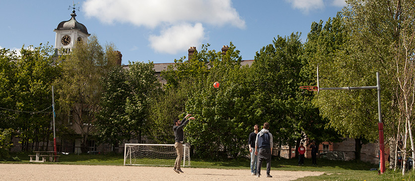 Playing basketball on the Griffith pitch