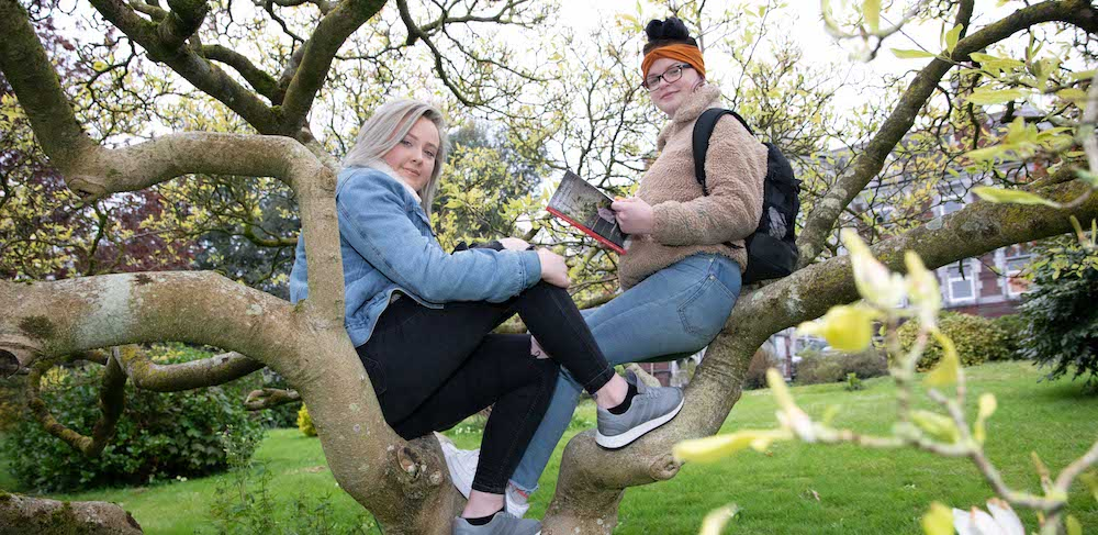 Two students sitting in a tree at Griffith College's main Dublin campus