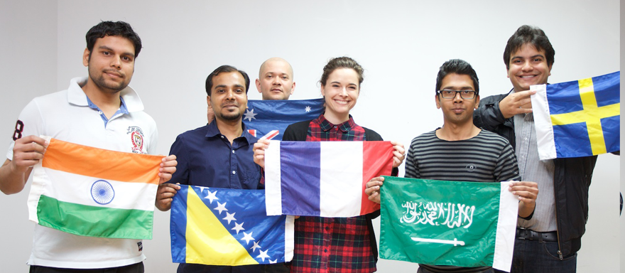 Students holding their National Flags