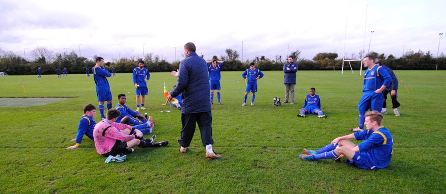 Griffith College soccer team in a match against RCSI
