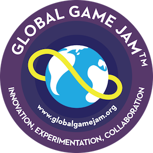 "Global Game Jam logo, a globe with a yellow band floating around it; the text underneath says ""Innovation, Experimentation, Collaboration,"" and includes the event's url at globalgamejam.org"