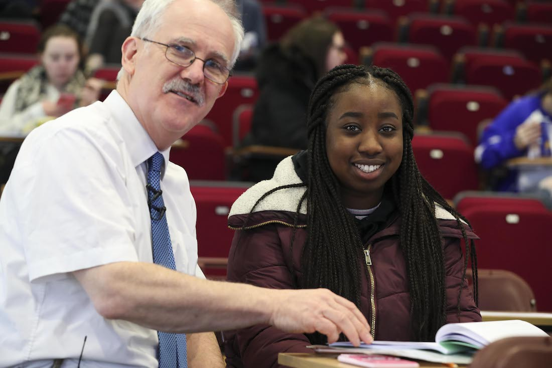 Dr Tomás Mac Eochagáin reviews with a leaving cert student