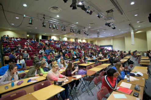 Students at a seminar in the auditorium