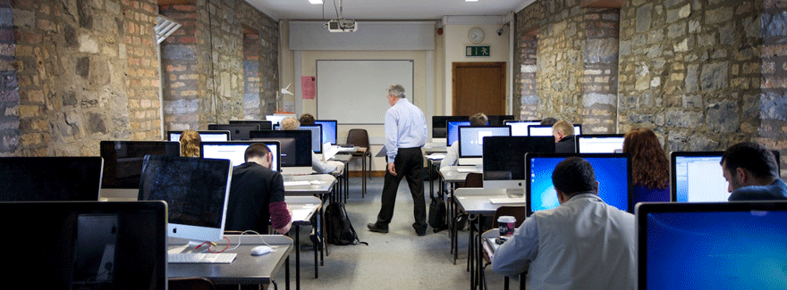 part-time students in a computer lab