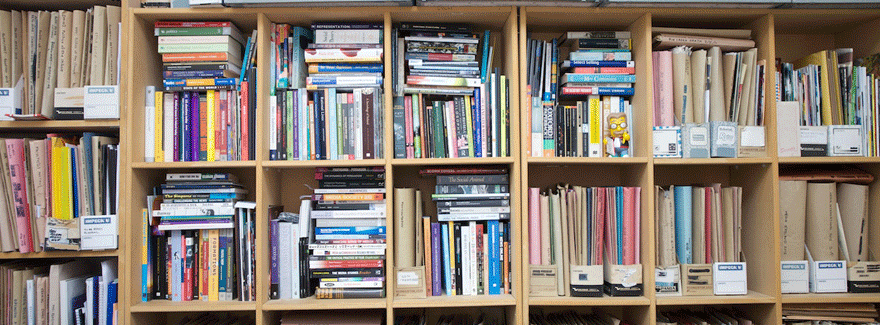 selection of books in the library