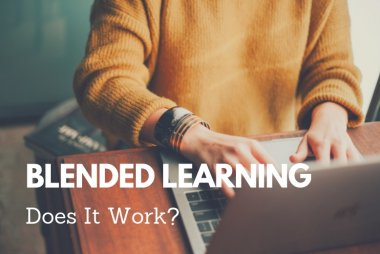 A woman sitting at a desk typing on a laptop, the text says Blended Learning, Does it Work?