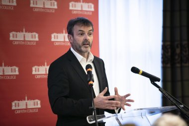 Paul Rellis speaks at the Griffith College Alumni Breakfast held December 2019.
