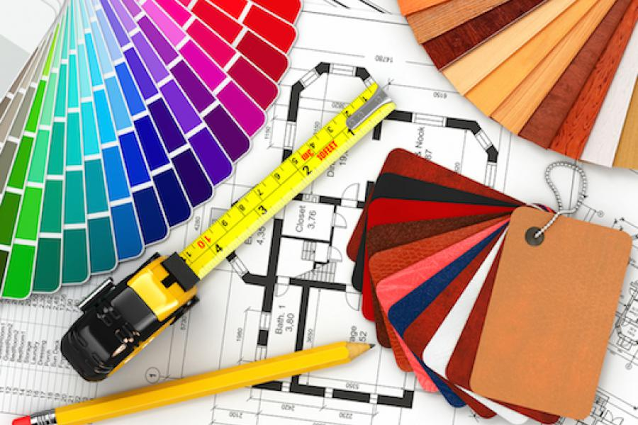 Interior Design equipment: measuring tape, colour samples and house plan