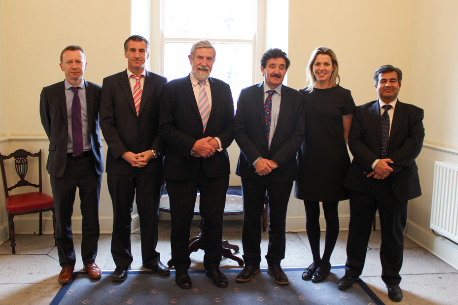 Minister Halligan with Diarmuid Hegarty and Heads of Business, Computing and Graduate Business