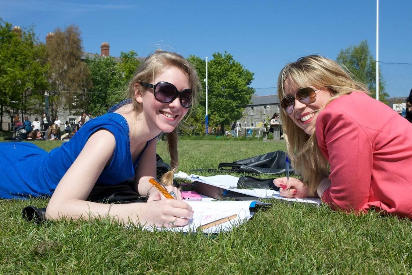 Law Students studying outdoors
