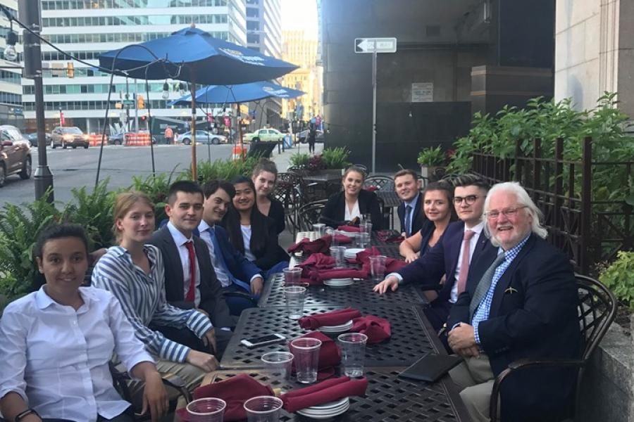 Griffith College Brehon Law Society interns in Philadelphia with Judge James Lynn