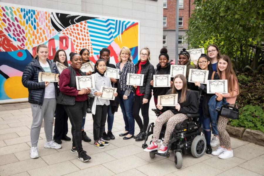 Loreto College Crumlin students pose with their certificates at Griffith College Dublin