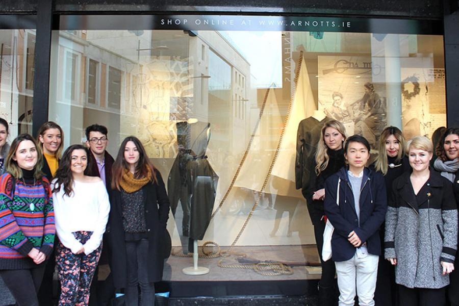 2nd Year Fashion Design students outside the Arnotts Uniformity16 Display
