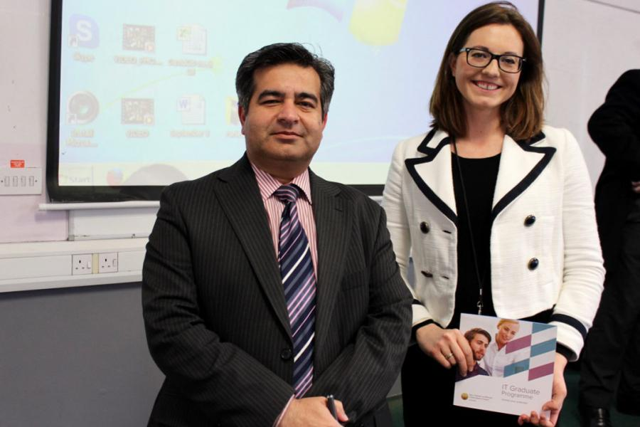 Waseem Akhtar, Head of Computing Faculty at Griffith College, and Nicola Connelly, HR Rep from Central Bank